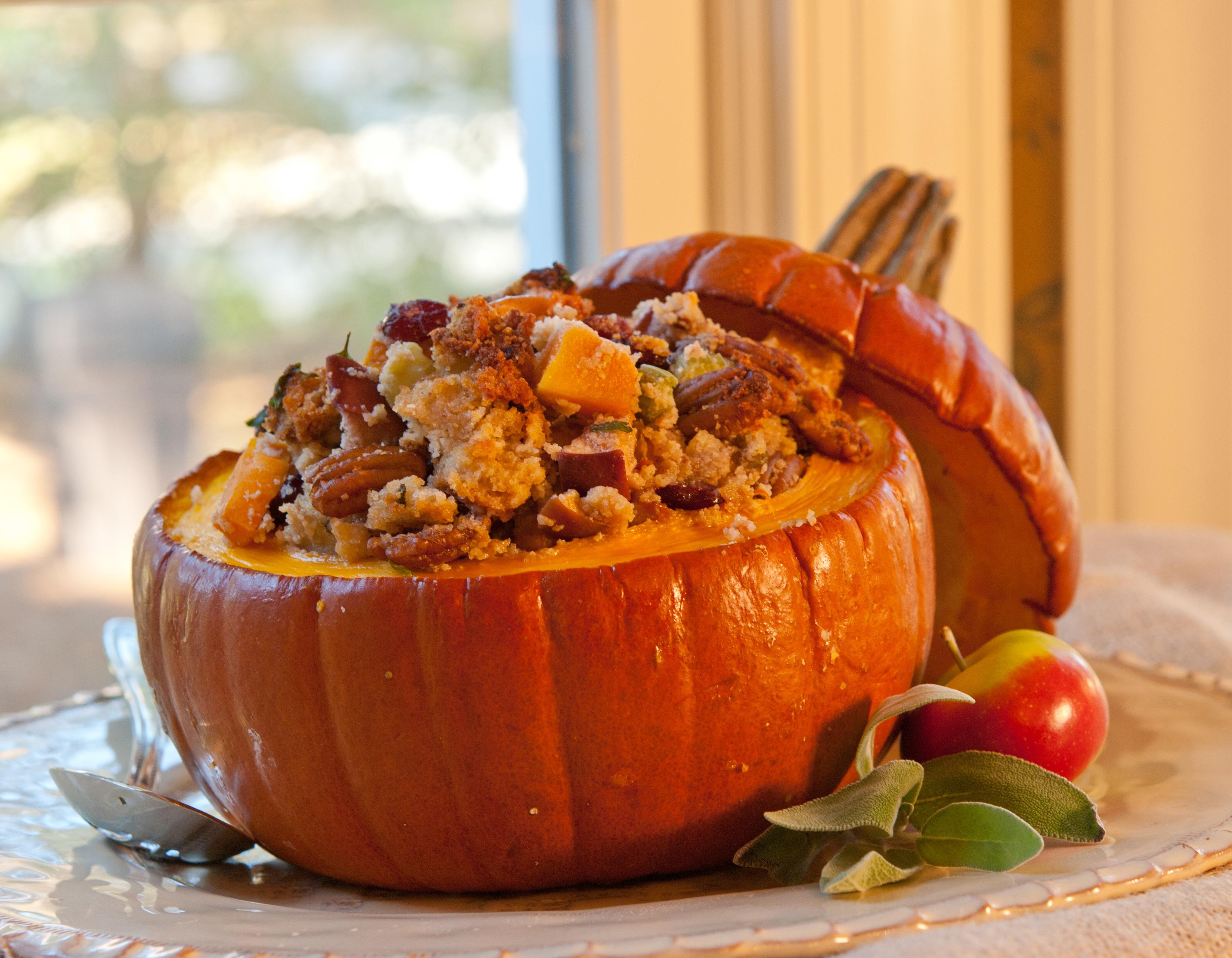 vegan tuffing in a pumpkin