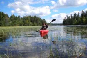 Catherine Lange kayaking on Long Lake in the Chequamegon-Nicolet National Forest.